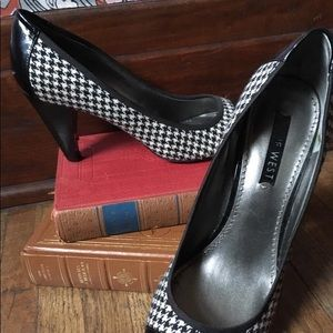 Nine West houndstooth and patent leather pumps